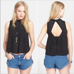Free people cut out back high neck eyelet tank top